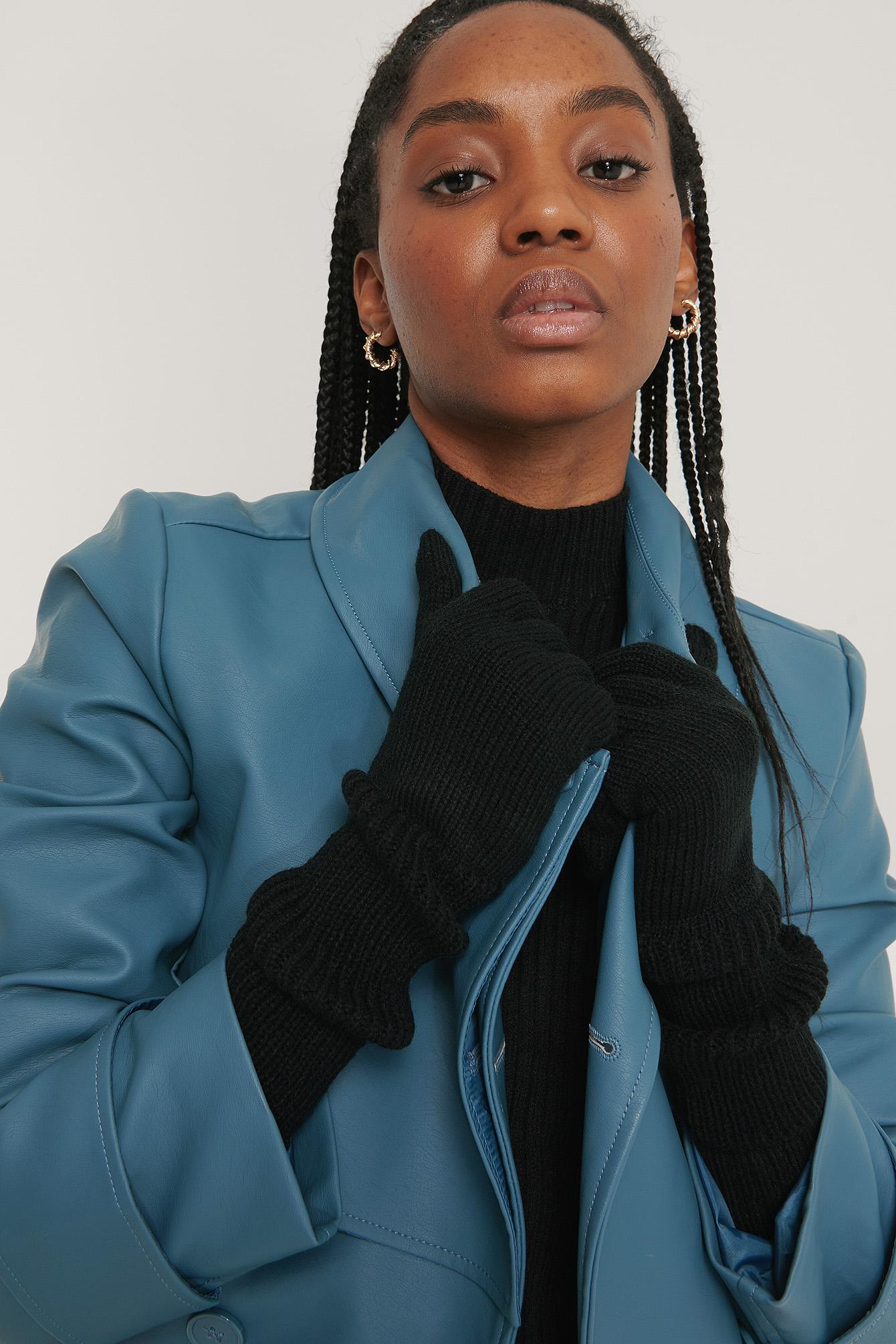 Na-kd Long Knit Gloves Black