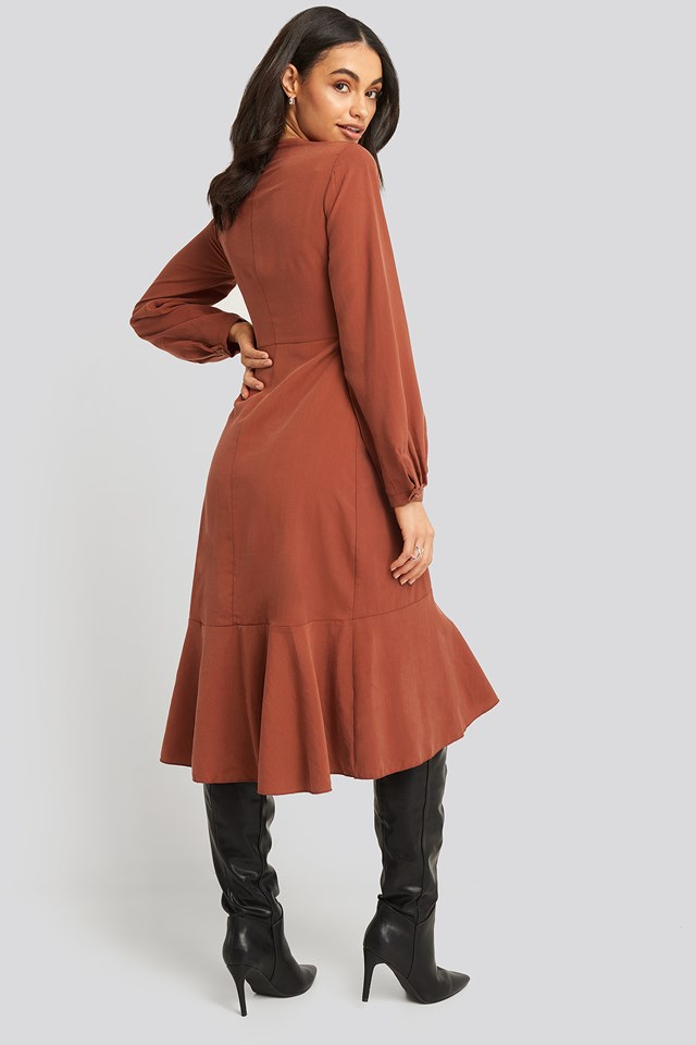 Tile Flywheel Midi Dress Brick