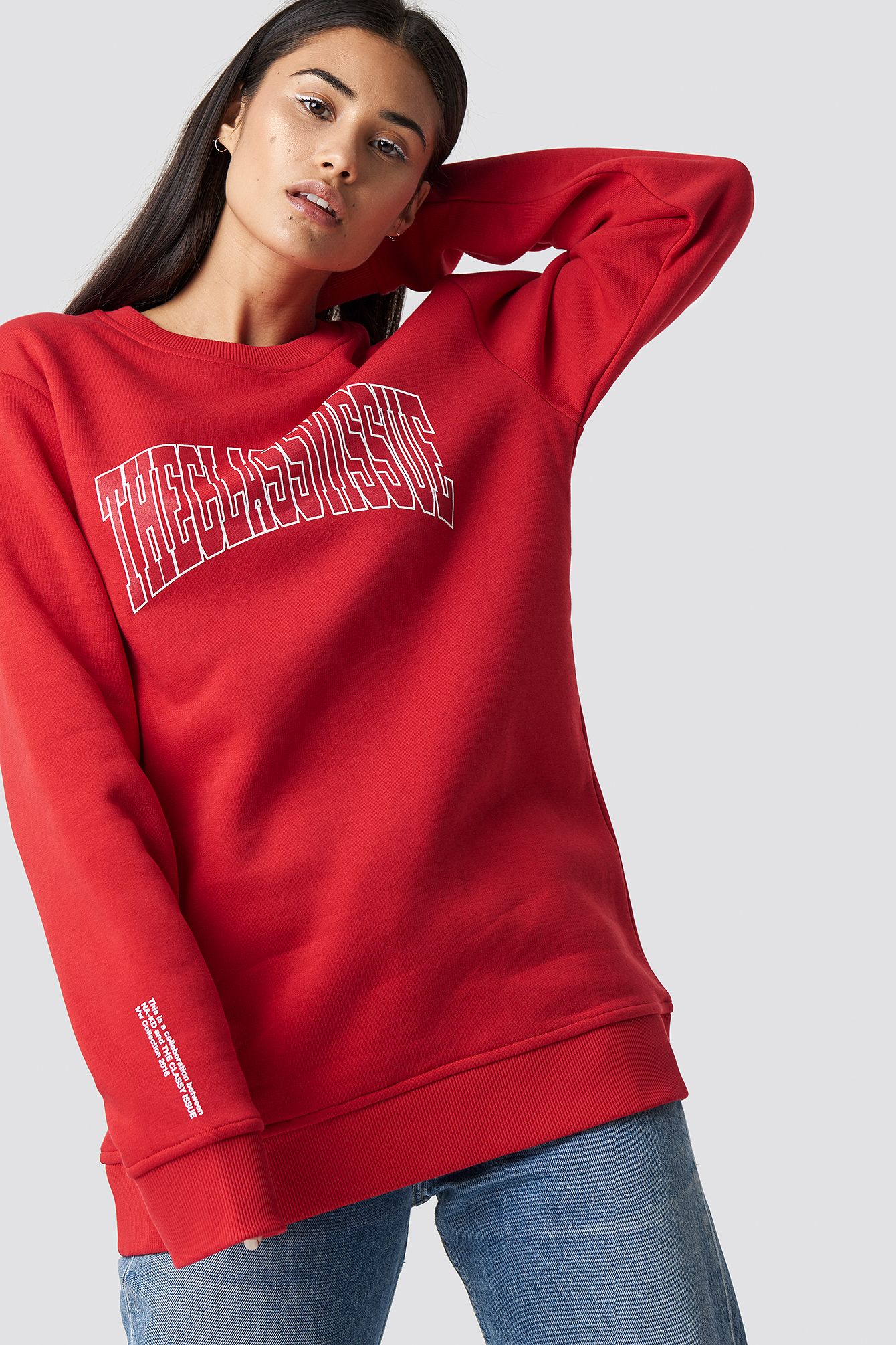 the classy issue x na-kd -  The Classy Logo Unisex Sweater - Red