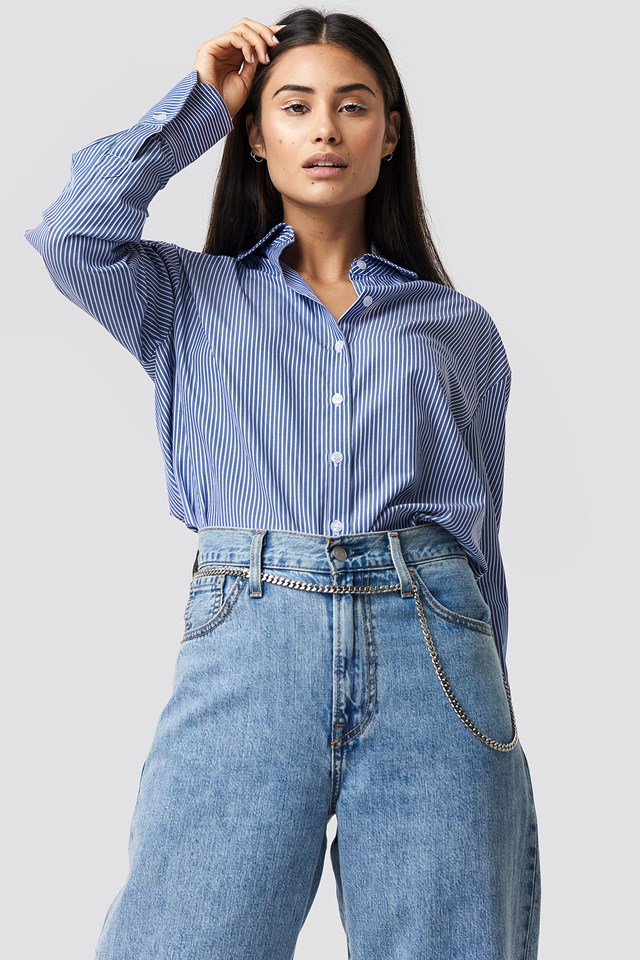 The Classy Safety Shirt Blue/White Stripe