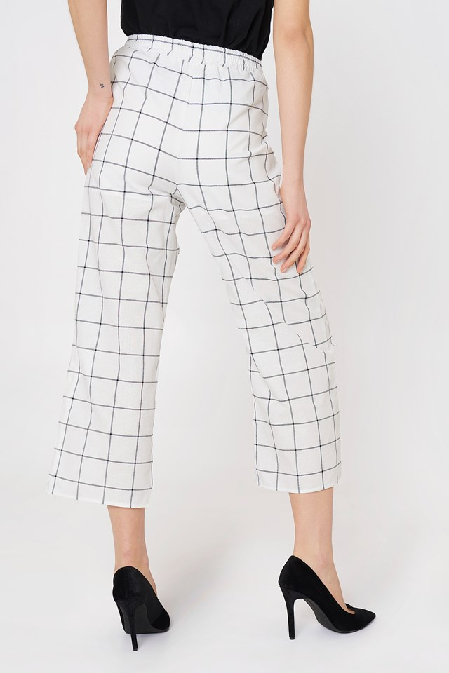 Atticus Check Pant White/Charcoal