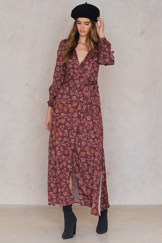 Carousel Wrap Dress Burgundy Aster