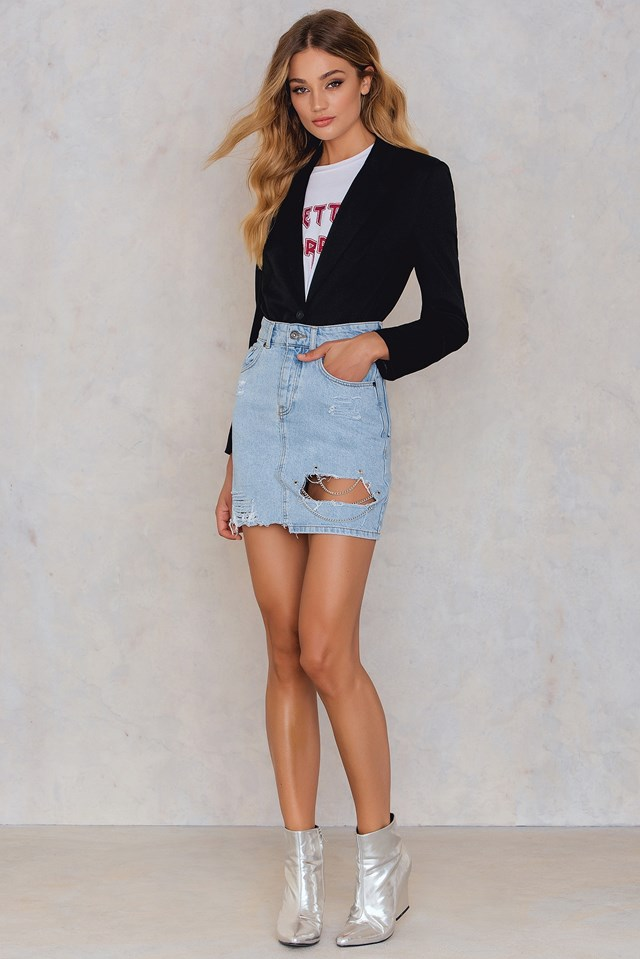 Crux Denim Skirt Blue