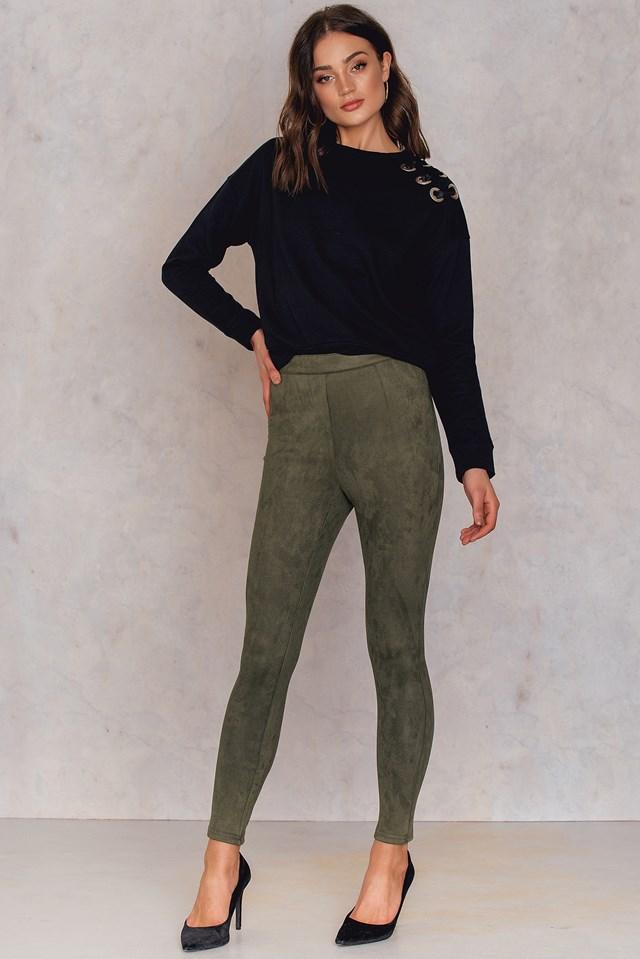 Edlira Suede Pants Khaki Green