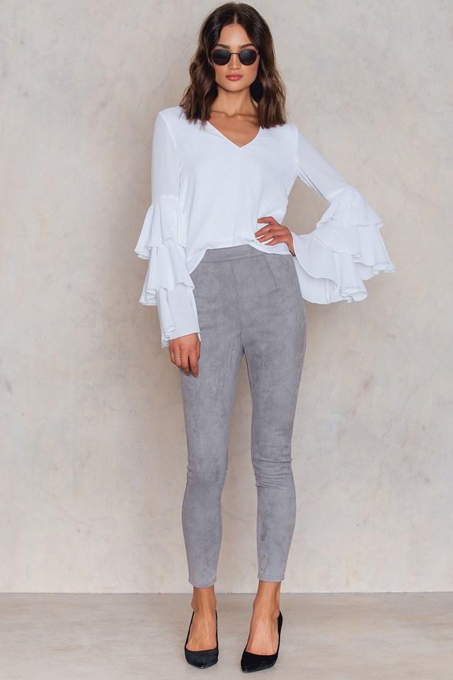 Edlira Suede Pants Light Grey