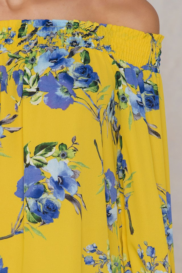 Off The Shoulder Floral Top Yellow
