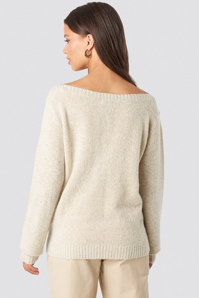 Boat Neck Knitted Sweater Beige