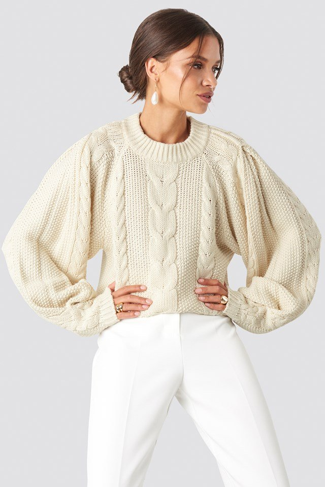 Chunky Cable Knitted Sweater Off White