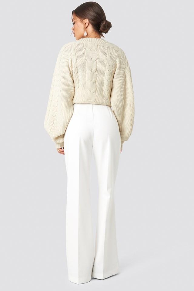 High Waist Bootcut Pants White