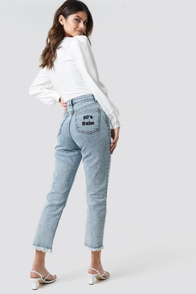 90's Babe Straight Jeans Light Blue