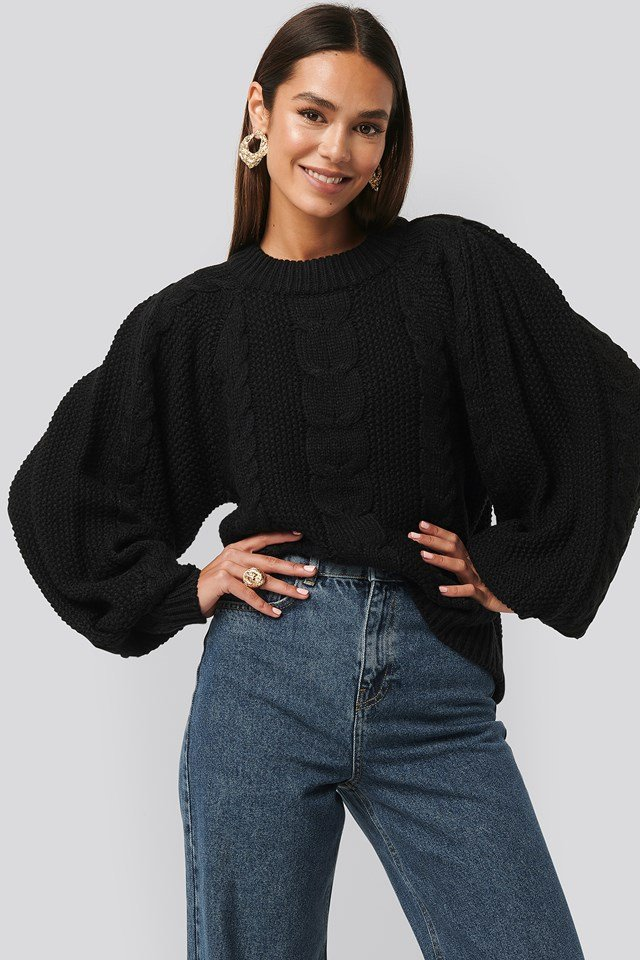 Chunky Cable Knitted Sweater Black