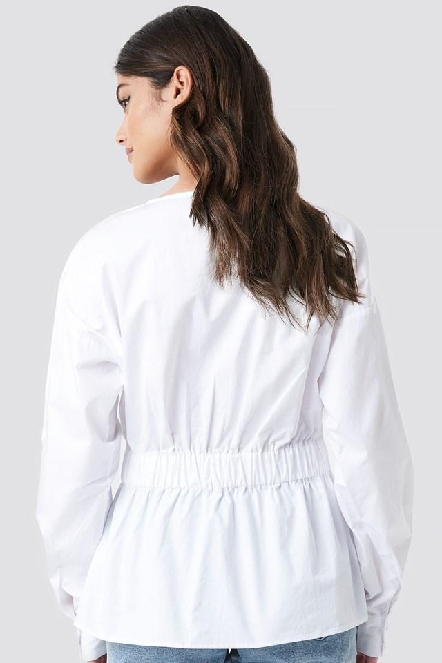 Elastic Waist Puffy Blouse White