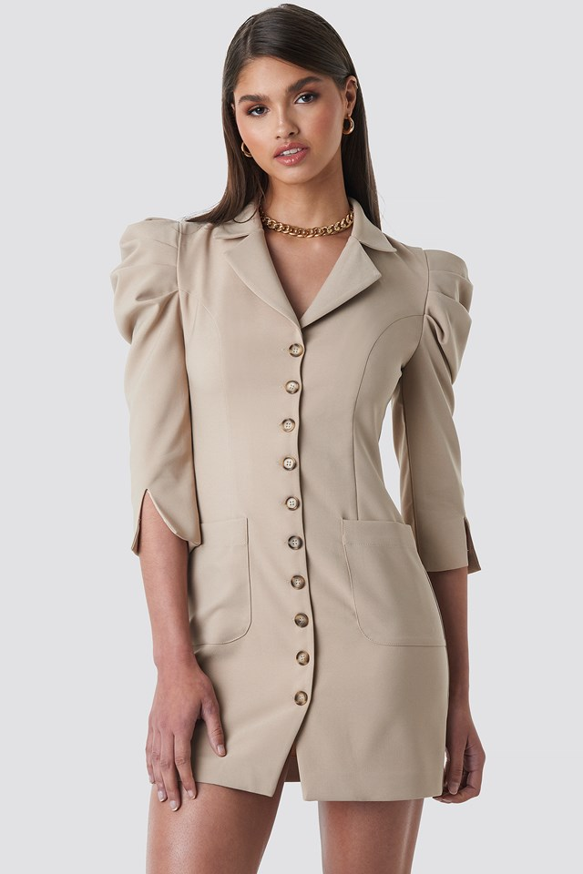 Front Button Blazer Dress Taupe