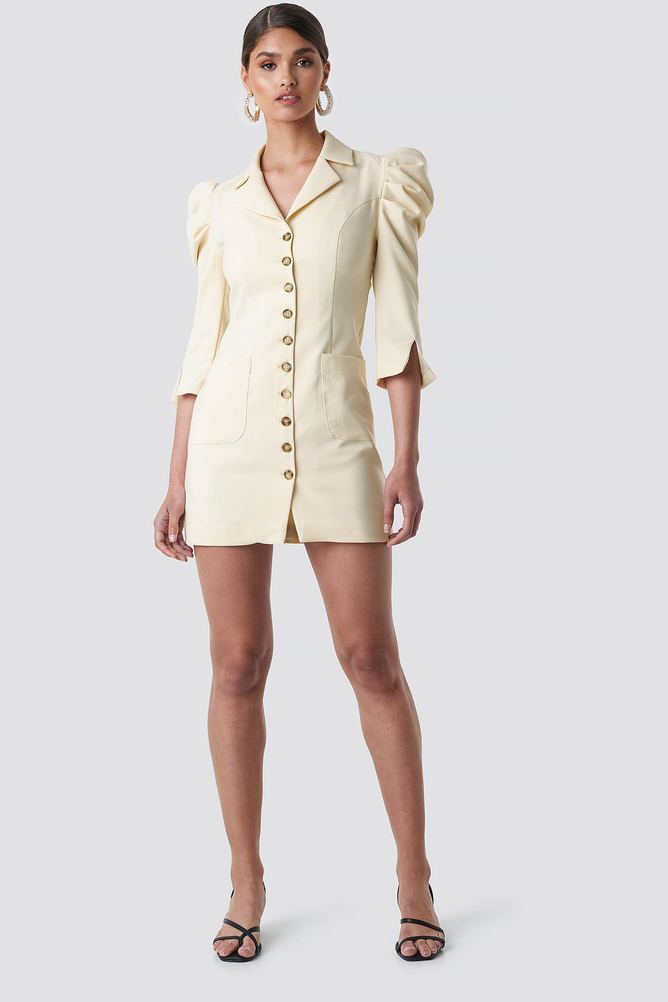 Front Button Blazer Dress NA-KD.COM