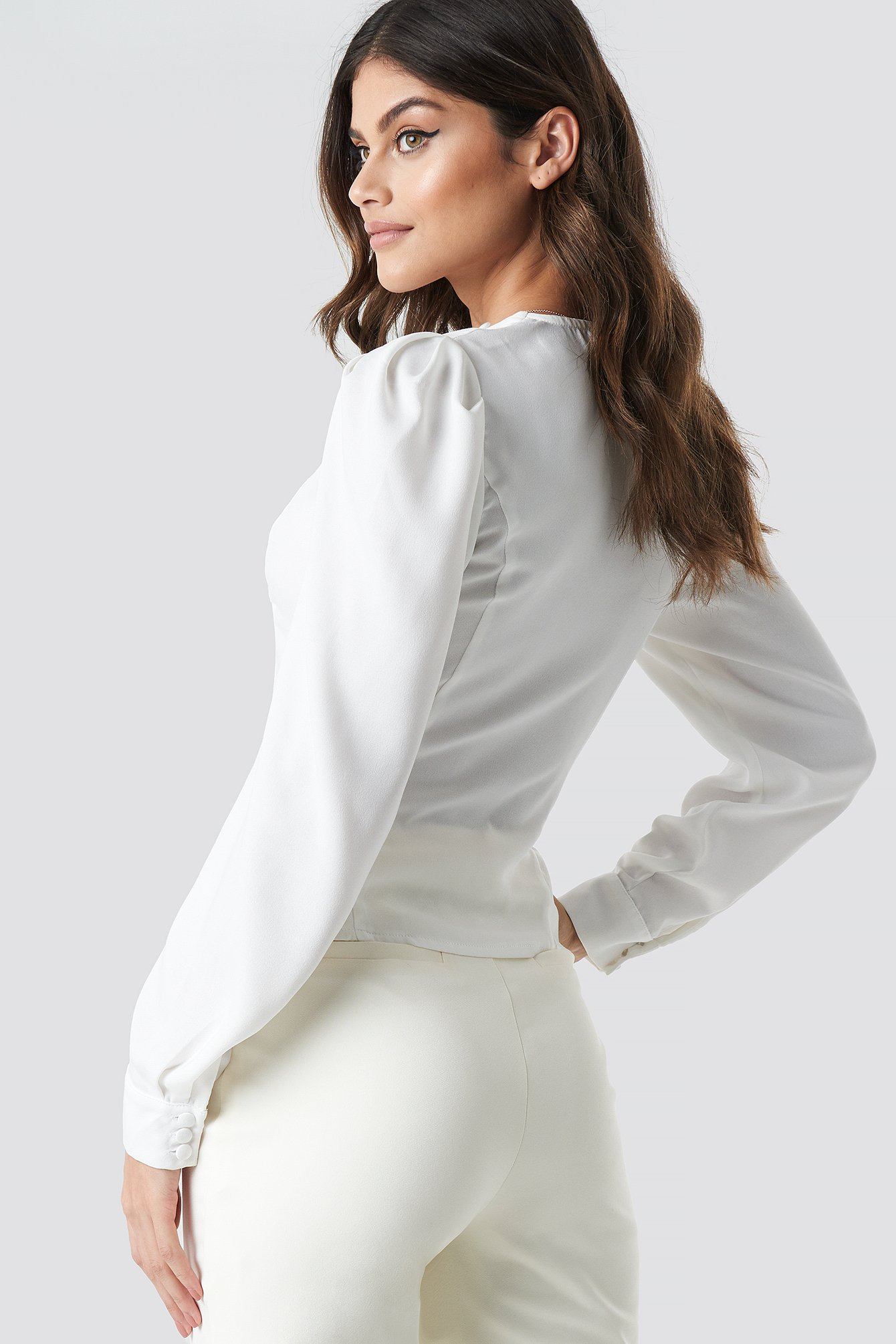 Front Button Puffy Sleeve Blouse NA-KD.COM
