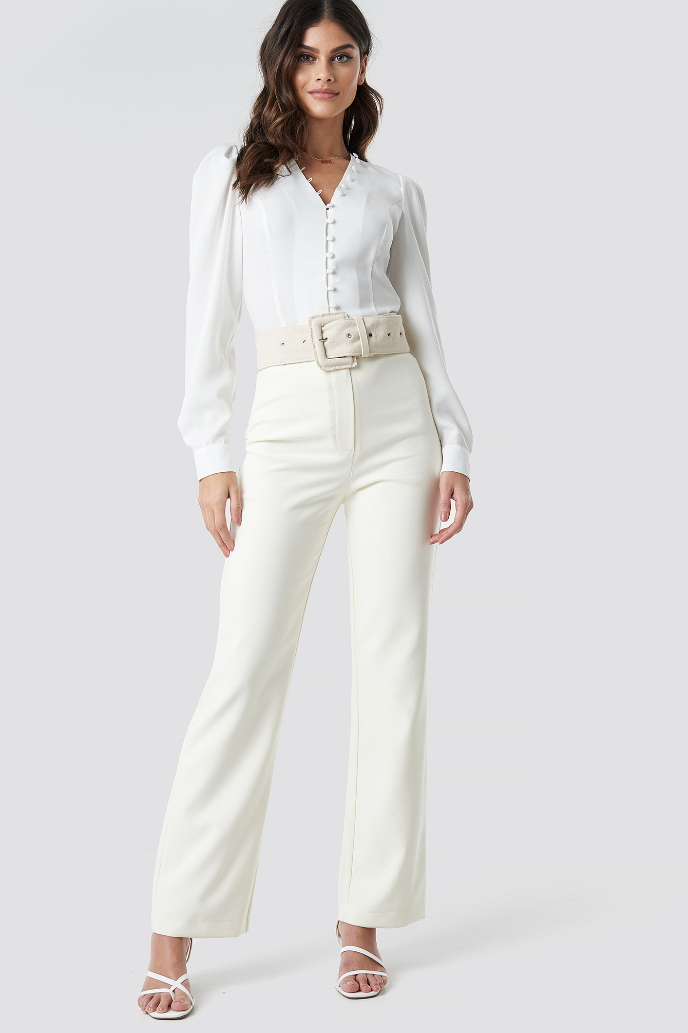 White Front Button Puffy Sleeve Blouse