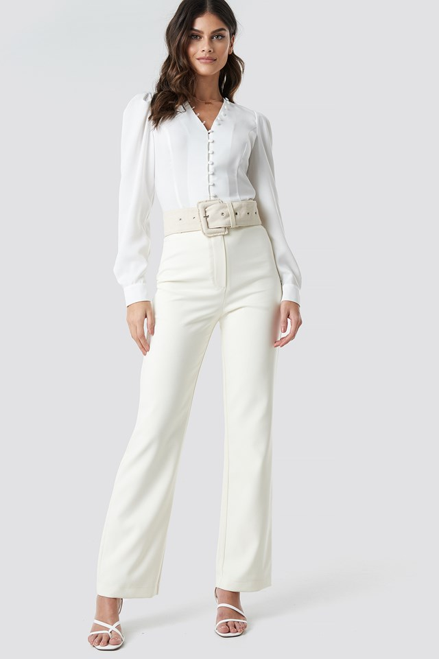 Front Button Puffy Sleeve Blouse White