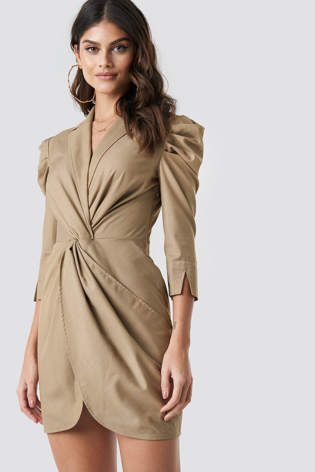 Front Knot Shirt Dress NA-KD.COM