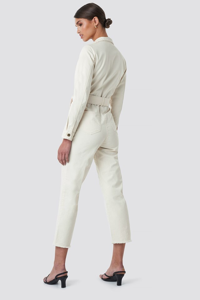 Front Tie Denim Jumpsuit Off White