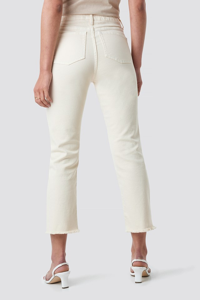 Highwaisted Straight Jeans Off White