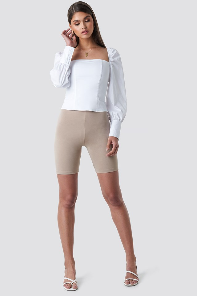 Highwaisted Cycle Shorts Taupe