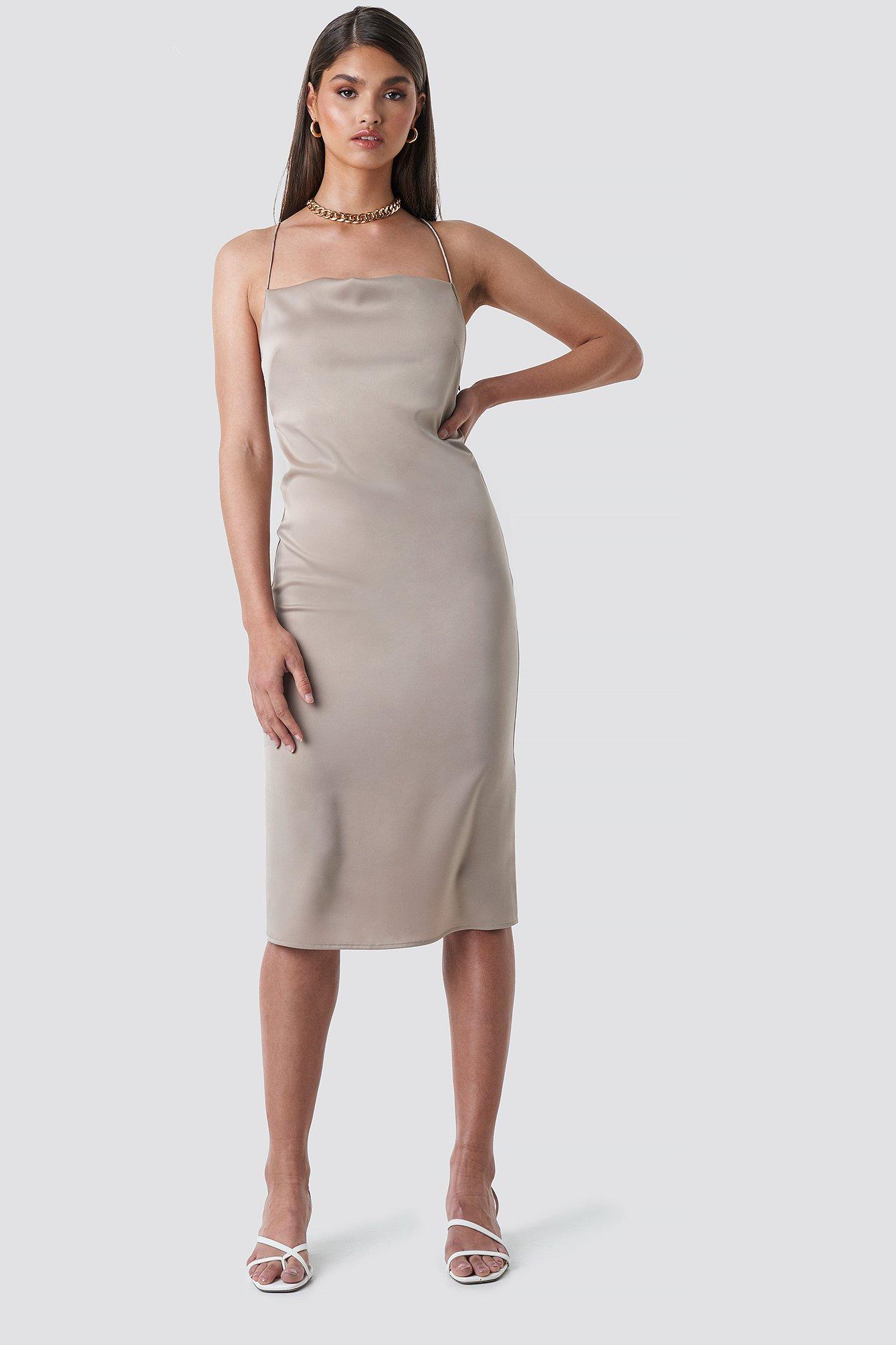 tina maria x na-kd -  Cowl Neck Satin Midi Dress - Beige