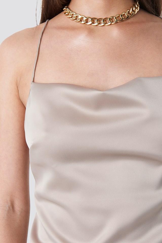 Cowl Neck Satin Midi Dress Taupe