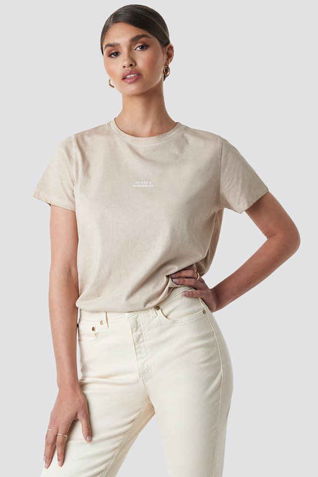 Nudes & Scribbles Washed Out Tee Taupe