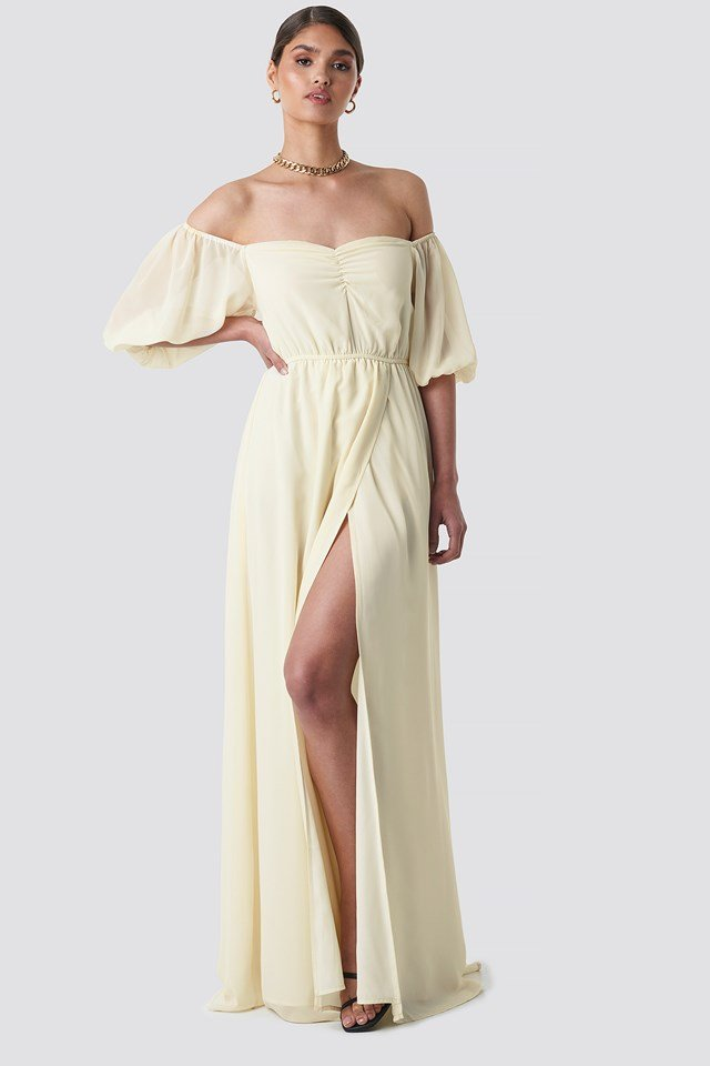Off Shoulder Puffy Sleeve Maxi Dress Off White