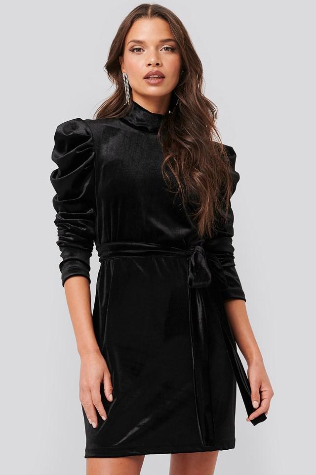Puffy Sleeve High Neck Velvet Dress Black