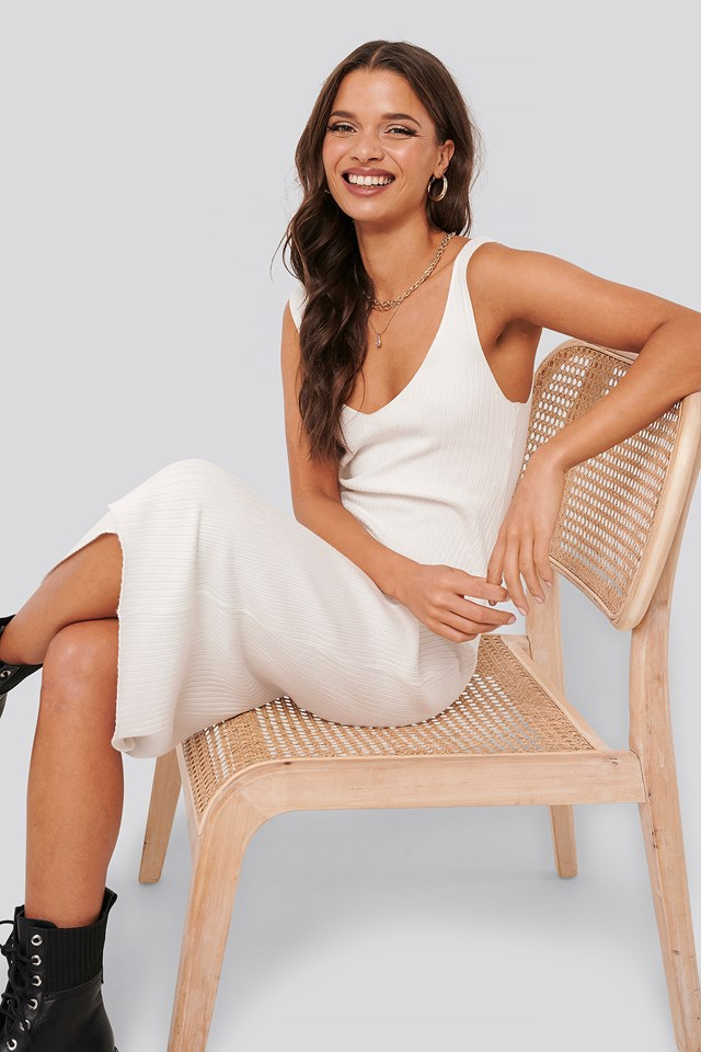 Ribbed Knitted Dress Off White