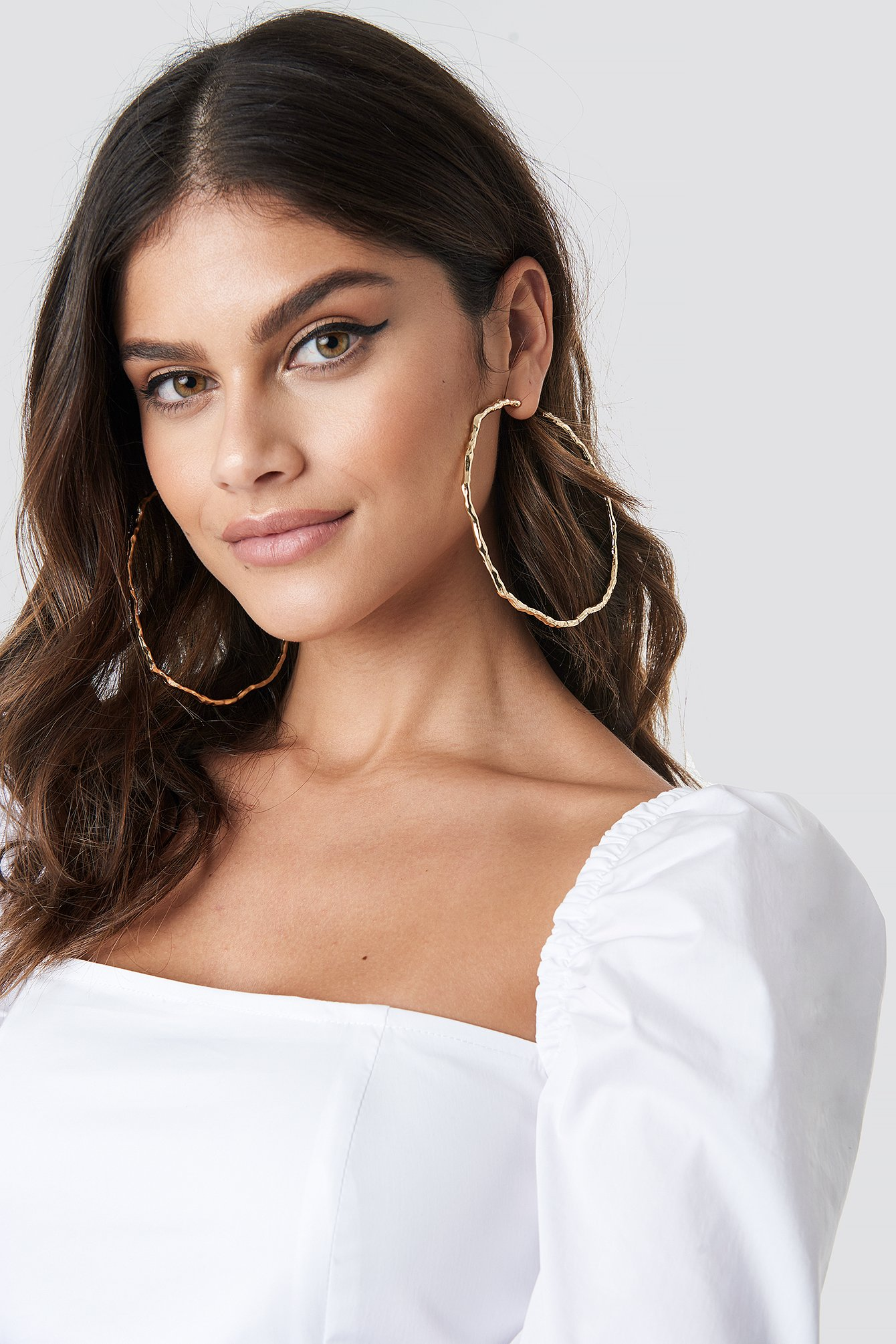 Round Big Structured Earrings NA-KD.COM