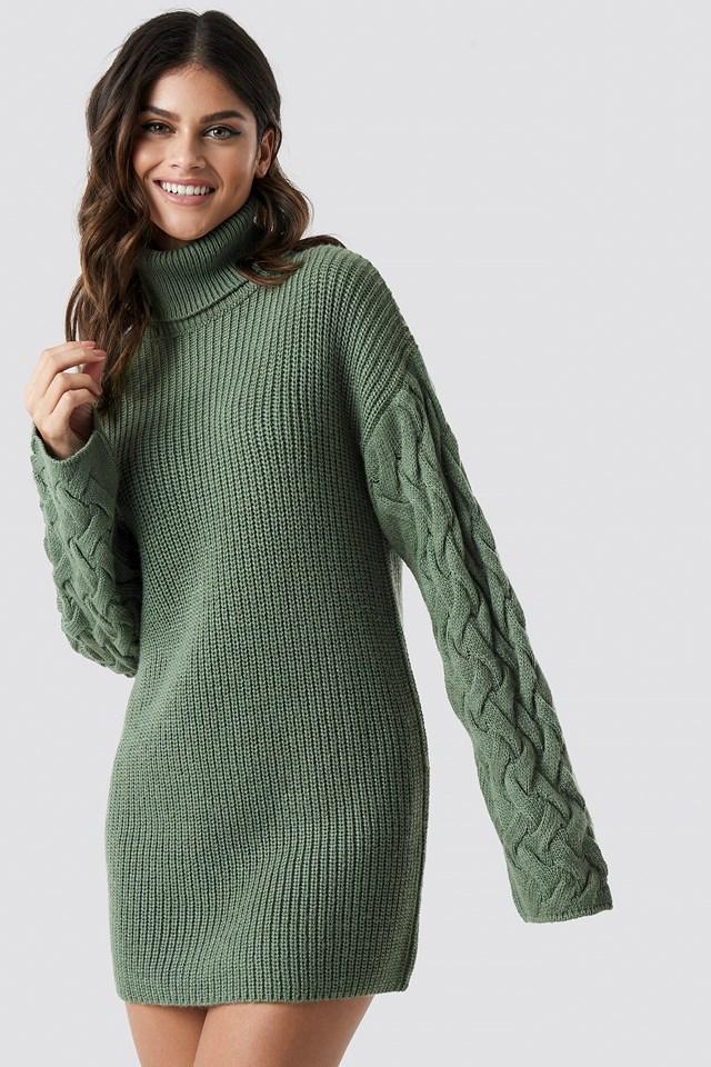 Sleeve Detail Knitted Dress NA-KD.COM