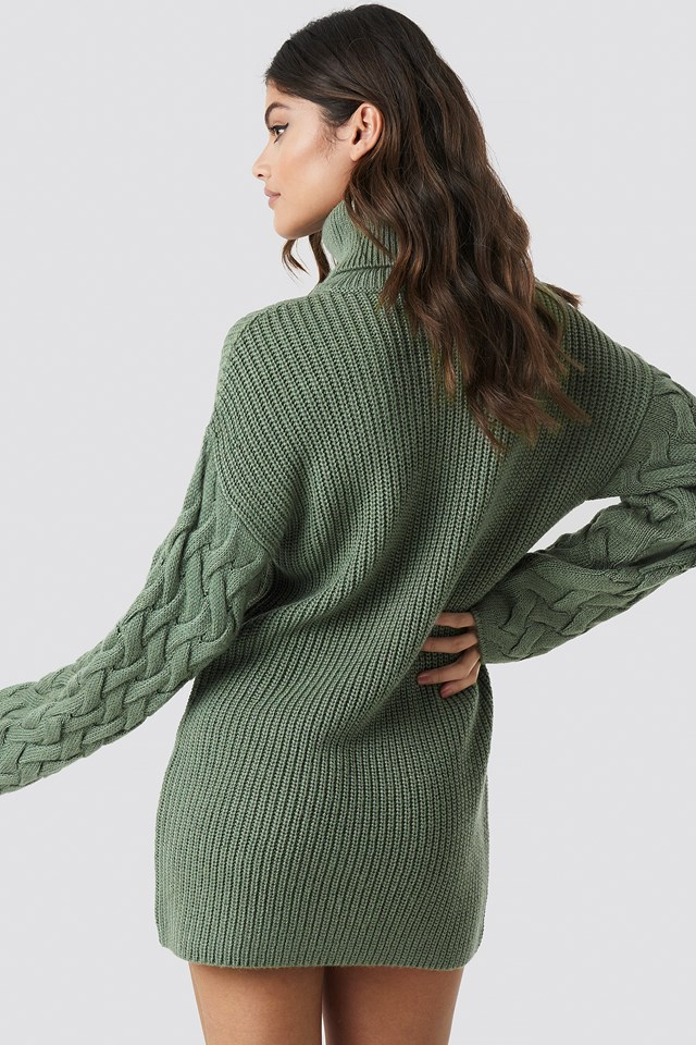 Sleeve Detail Knitted Dress Dusty Green