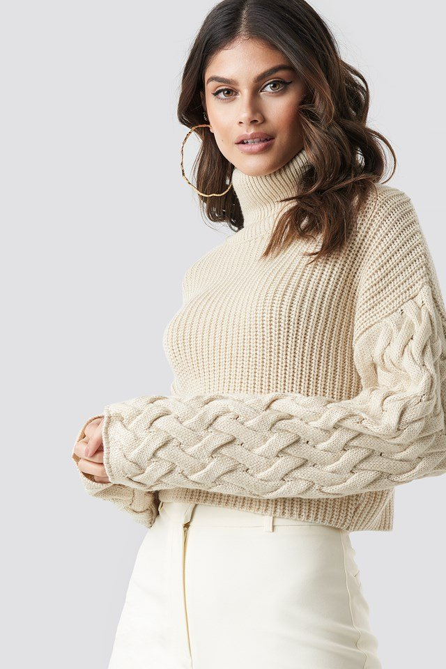 Sleeve Detail Knitted Sweater Beige