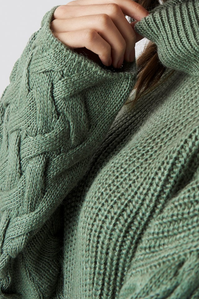 Sleeve Detail Knitted Sweater Dusty Green