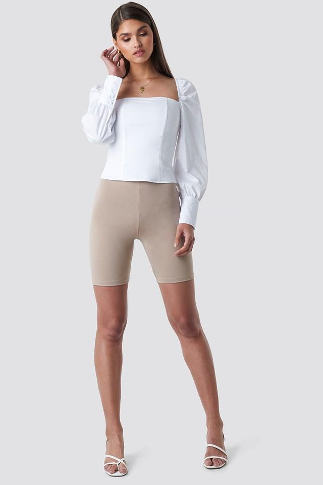 Straight Shape Puffy Sleeve Blouse White