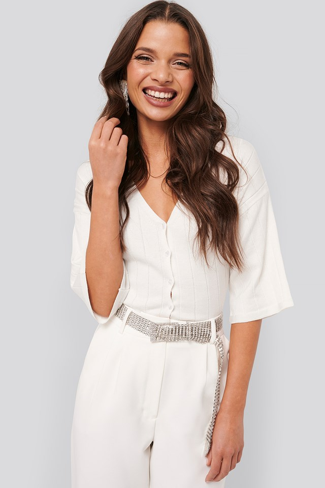 Wide Ribbed Knitted Button Top Off White