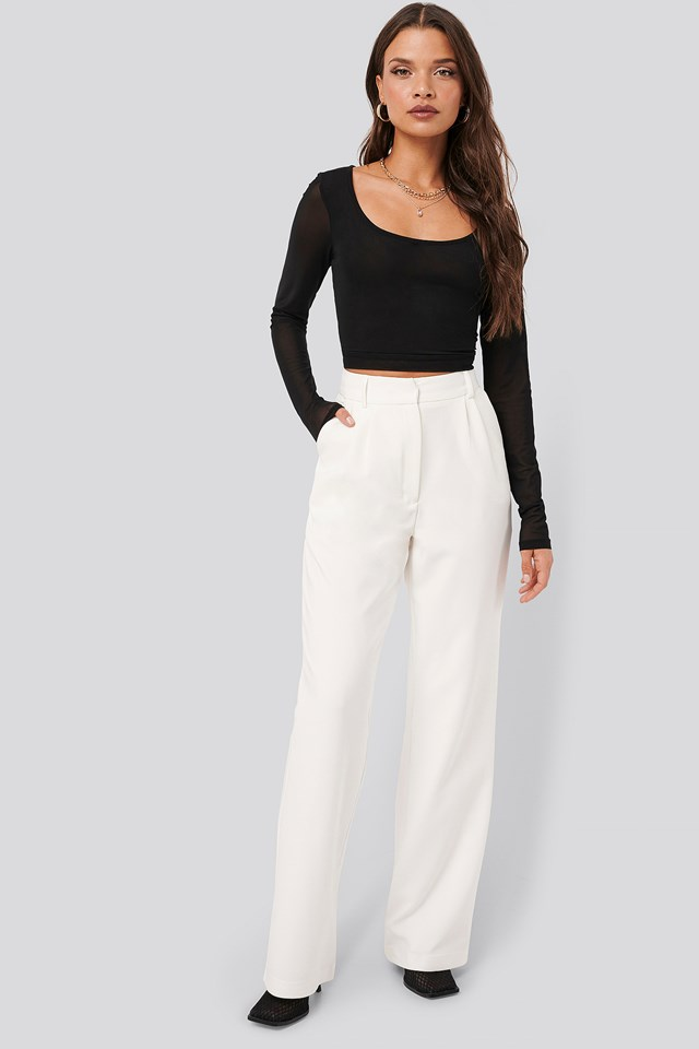 Wide Suit Pants Off White