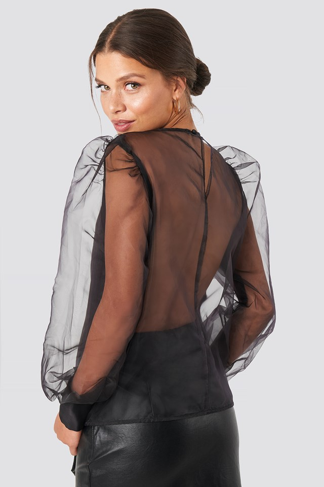Puffy Sleeve Organza Blouse Black