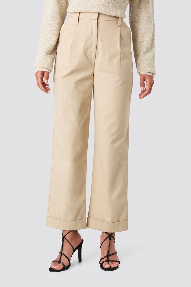 Straight Cargo Pants Beige