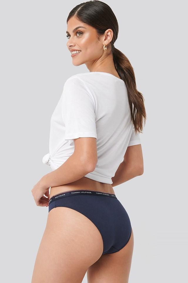 3-Pack Bikini Stripe Print Panties Shocking Pink/Cerise/Navy