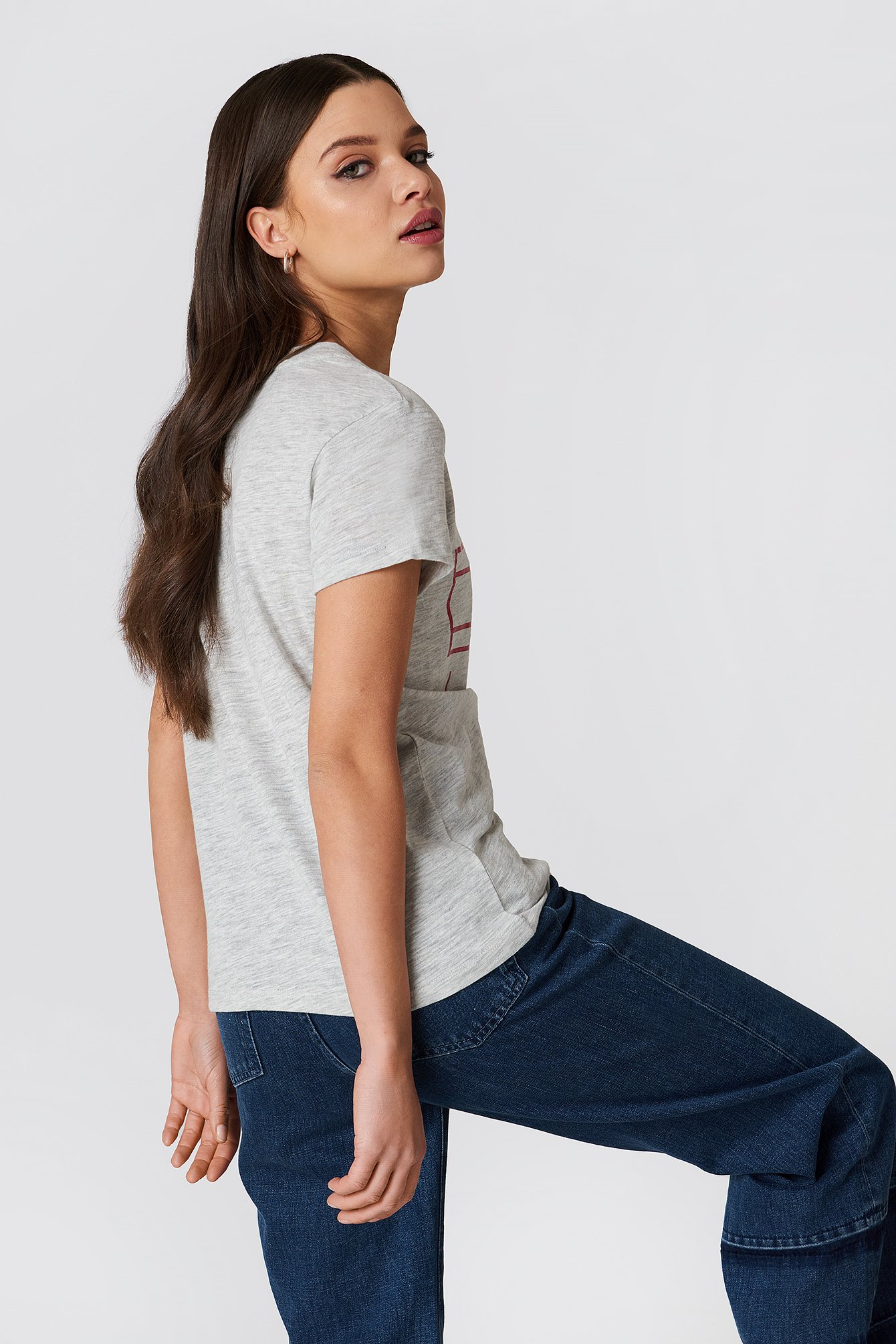 Light Grey Heather Clean Tommy Flag Logo Tee
