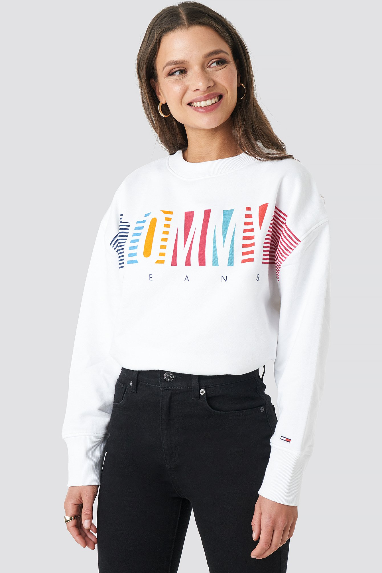 tommy jeans -  Colorful Block Tommy Crew Neck - White