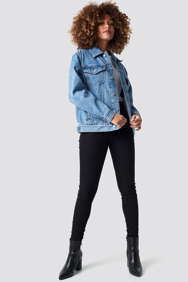 Crest Flag Trucker Denim Jacket Mid Blue Denim
