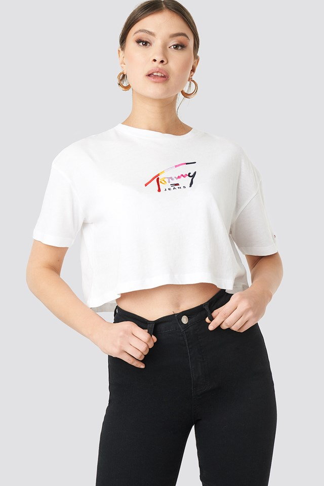 Cropped Tommy Script Tee Classic White