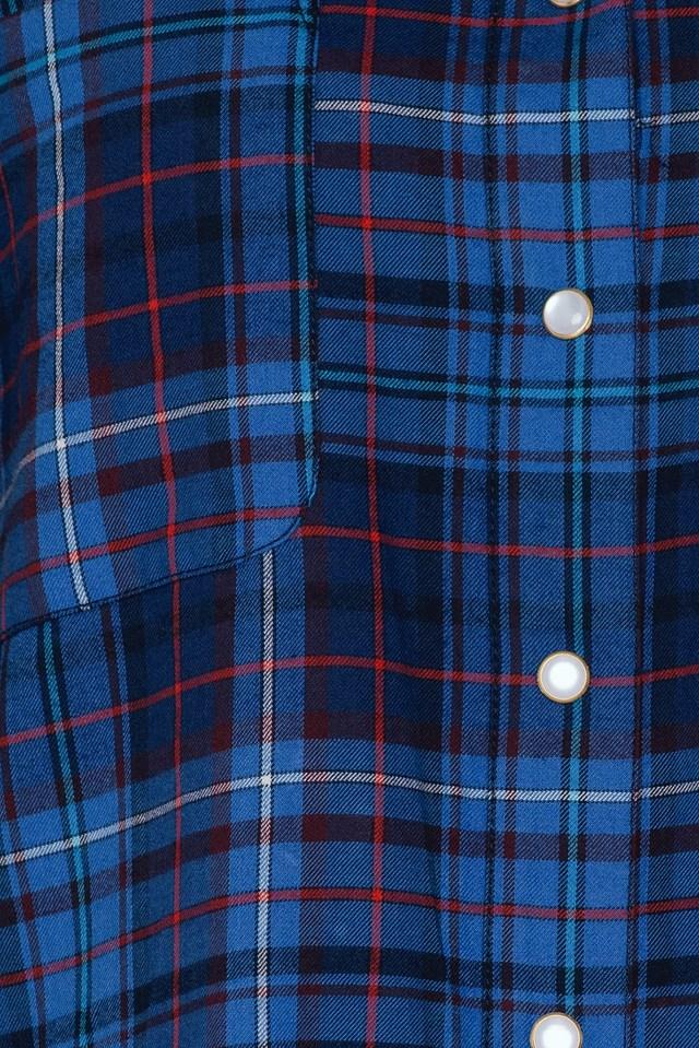 Gigi Hadid Tartan Flannel Shirt Tommy Tartan Small Blue