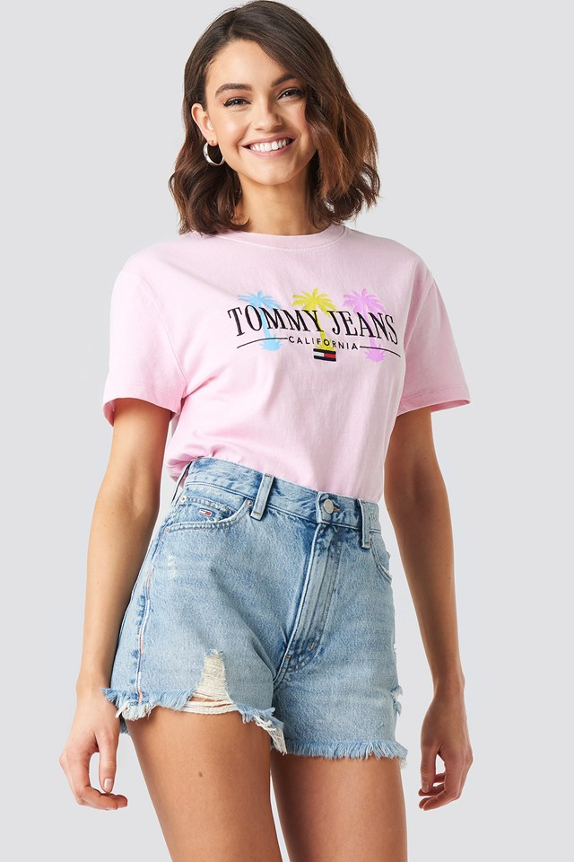 Tommy Jeans Summer Palm Tree Tee Roseate Spoonbill