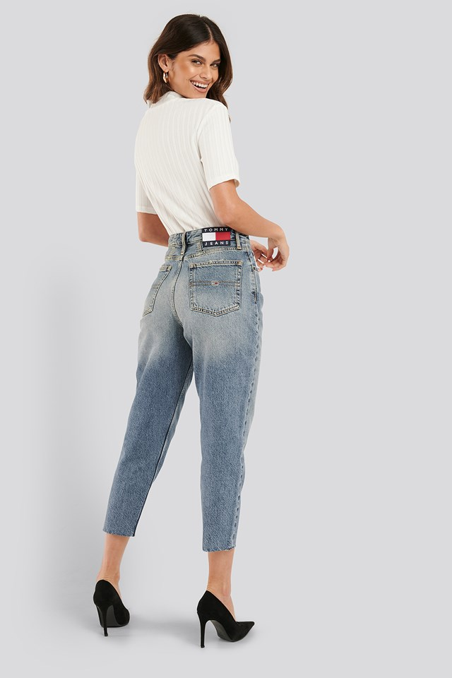 Mom High Rise Tapered Iron Mid Jeans Denim