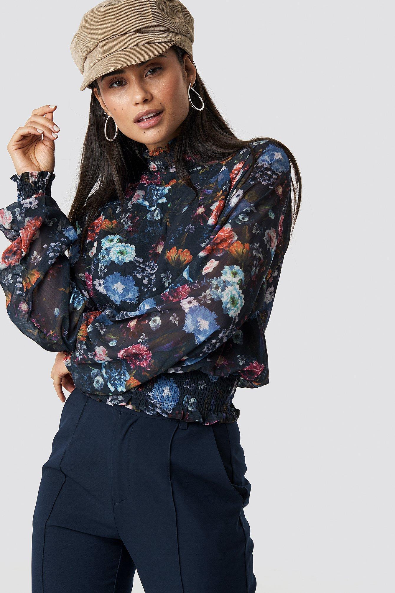TOP SECRET Flower Long Sleeve Blouse - Multicolor, Navy in Multicolor,Navy